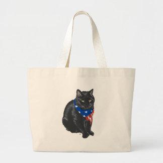 Chat noir patriotique grand sac