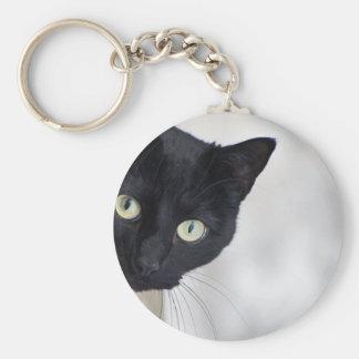 Chat noir porte-clé rond