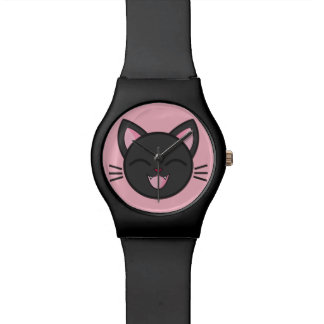 Chat noir riant montre
