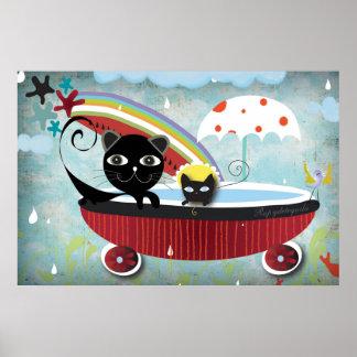 Chat noir rouge de Bathtube Affiches
