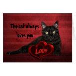 Chat noir Valentine Carte