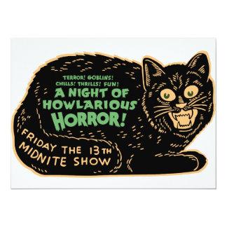 Chat noir vintage de Halloween Carton D'invitation 13,97 Cm X 19,05 Cm