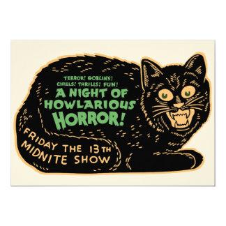 Chat noir vintage de Halloween Carton D'invitation 12,7 Cm X 17,78 Cm