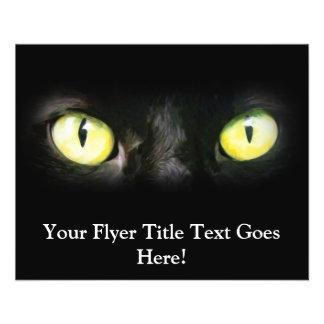 Chat noir, yeux verts jaunes, lisse et éffrayant prospectus 11,4 cm x 14,2 cm