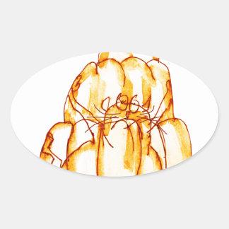 chat orange de la gelée des fernandes élégants sticker ovale