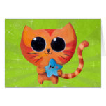 Chat orange mignon avec l'étoile carte de vœux