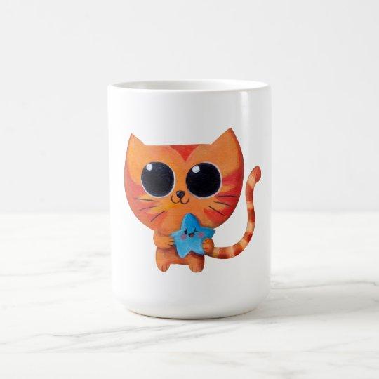 Chat orange mignon avec l'étoile mug