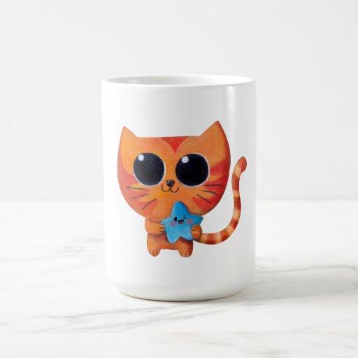Chat orange mignon avec l'étoile mug blanc