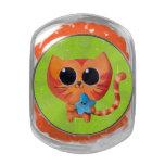 Chat orange mignon avec l'étoile pot en verre