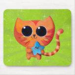Chat orange mignon avec l'étoile tapis de souris