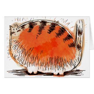 chat orange whacky de bande dessinée carte de vœux