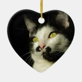 chat ornement cœur en céramique