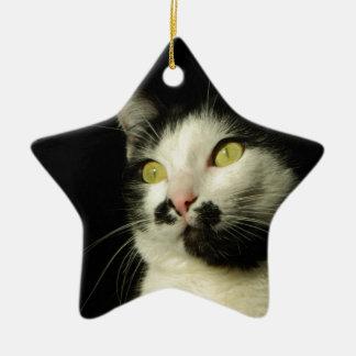 chat ornement étoile en céramique