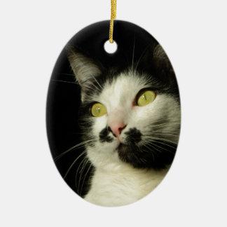 chat ornement ovale en céramique
