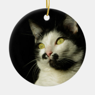 chat ornement rond en céramique