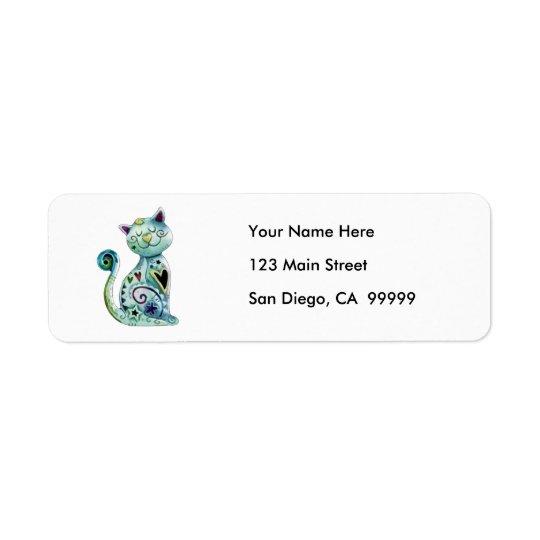 Chat peint de sourire avec des coeurs étiquette d'adresse retour