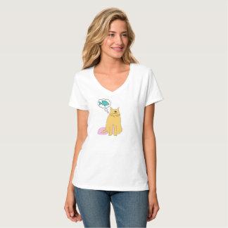Chat pensant aux poissons t-shirt