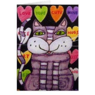 Chat pourpre de Valentine de coeur de sucrerie Cartes