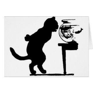 Chat regardant fixement en silhouette noire et bla carte de vœux