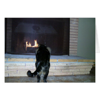 Chat regardant la cheminée carte de vœux