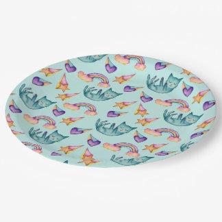 Chat rêveur flottant dans le motif d'aquarelle de assiettes en papier