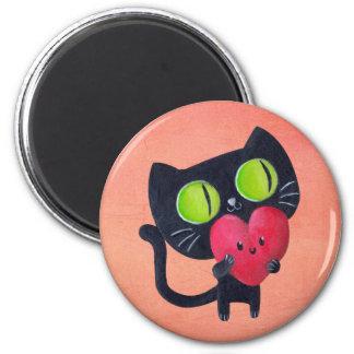 Chat romantique étreignant le coeur mignon rouge magnets