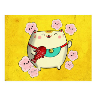 Chat rond mignon de Maneki Neko Cartes Postales