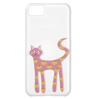 Chat rose de Kawaii avec le motif de tarte Coque Pour iPhone 5C
