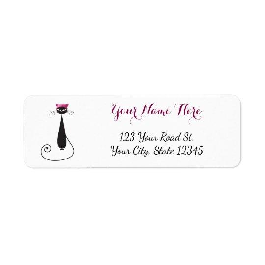 Chat rose de Kitty de casquette Étiquette D'adresse Retour