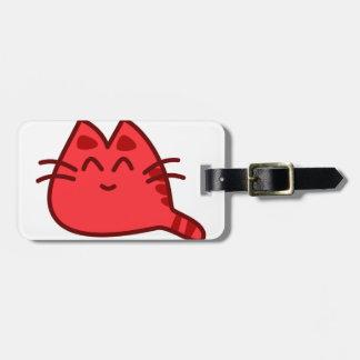 Chat rouge mignon étiquette à bagage