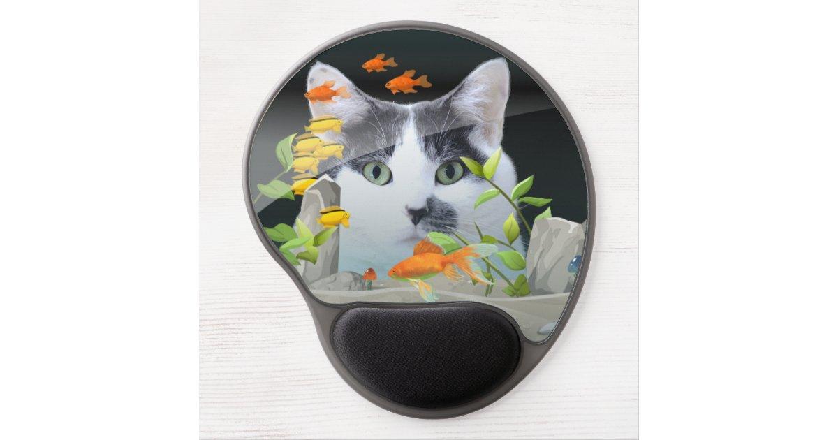 chat scrutant dans l 39 aquarium tapis de souris avec gel zazzle. Black Bedroom Furniture Sets. Home Design Ideas