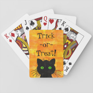 Chat semi-transparent noir mignon sur l'arrière - jeu de cartes