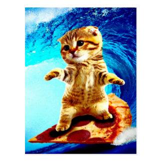 Chat surfant de pizza carte postale
