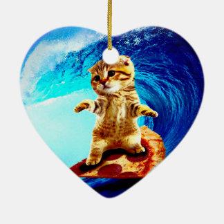 Chat surfant de pizza ornement cœur en céramique