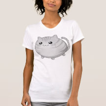 Chat tigré gris mignon de minou de Kawaii T-shirts
