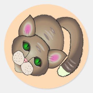 Chat triste sticker rond