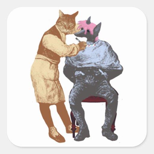 Chat vintage et chien de coiffeur autocollants carrés