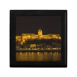 Château de Buda Hongrie Budapest la nuit Petite Boîte À Bijoux Carrée