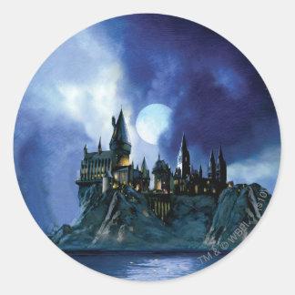 Château de Harry Potter   Hogwarts la nuit Sticker Rond