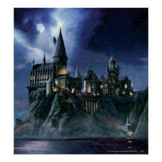 Château de Hogwarts la nuit Poster