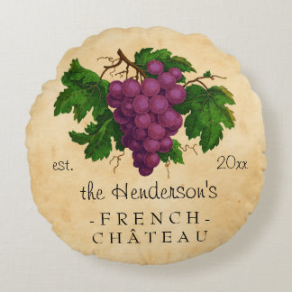 Château français avec le cru de raisins coussins ronds