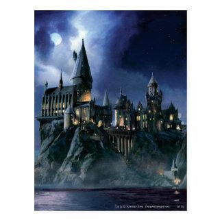 Château | Hogwarts éclairé par la lune de Harry Carte Postale