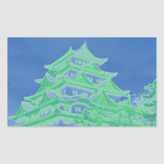 Château japonais au néon sticker rectangulaire