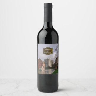 Château orageux et mariage personnalisé par étiquette pour bouteilles de vin