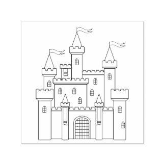 Château royal médiéval de conte de fées tampon auto-encreur