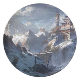 Château sur la montagne assiettes en mélamine