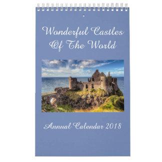 Châteaux du calendrier annuel 2018 du monde