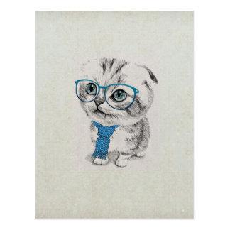 Chaton à la mode drôle adorable mignon d'yeux carte postale