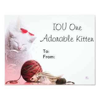 Chaton adorable d'IOU un Carton D'invitation 10,79 Cm X 13,97 Cm