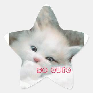 chaton sticker en étoile